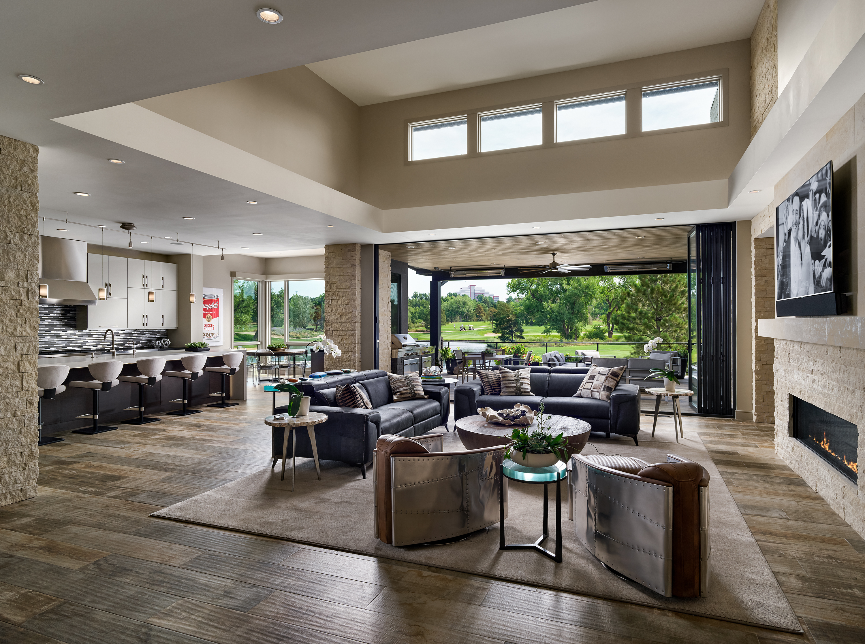 Spacious Open-Concept Living Room and Outdoor Living