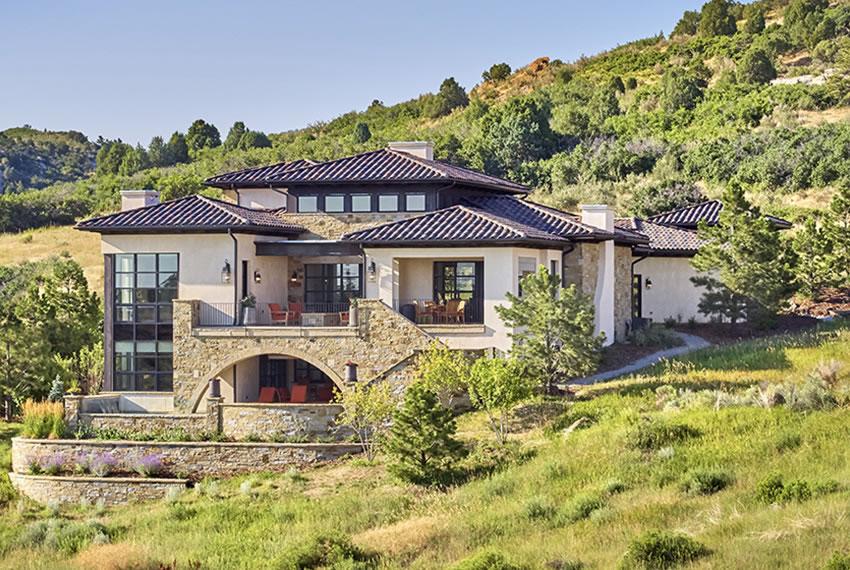 Stunning Walkout Basement Exterior Custom Home Nestled into the Foothills
