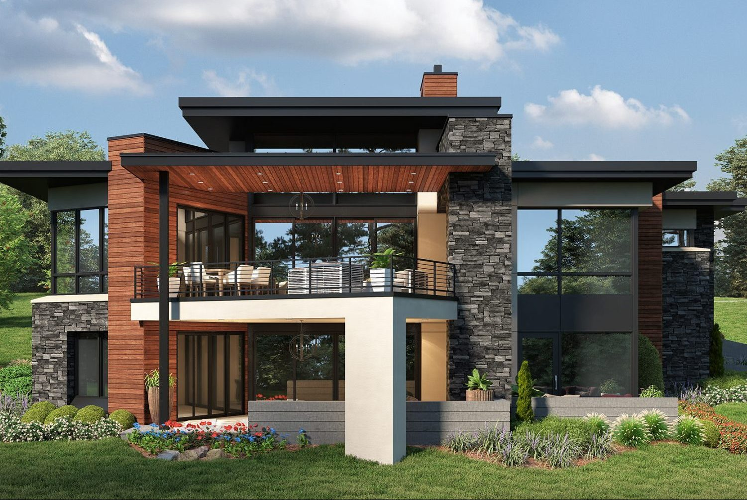 Colorado modern custom home designed by Godden Sudik Architects with covered outdoor living and walkout basement