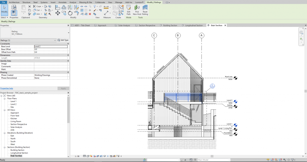 Example of Revit section drawing with note tags and sheet list.
