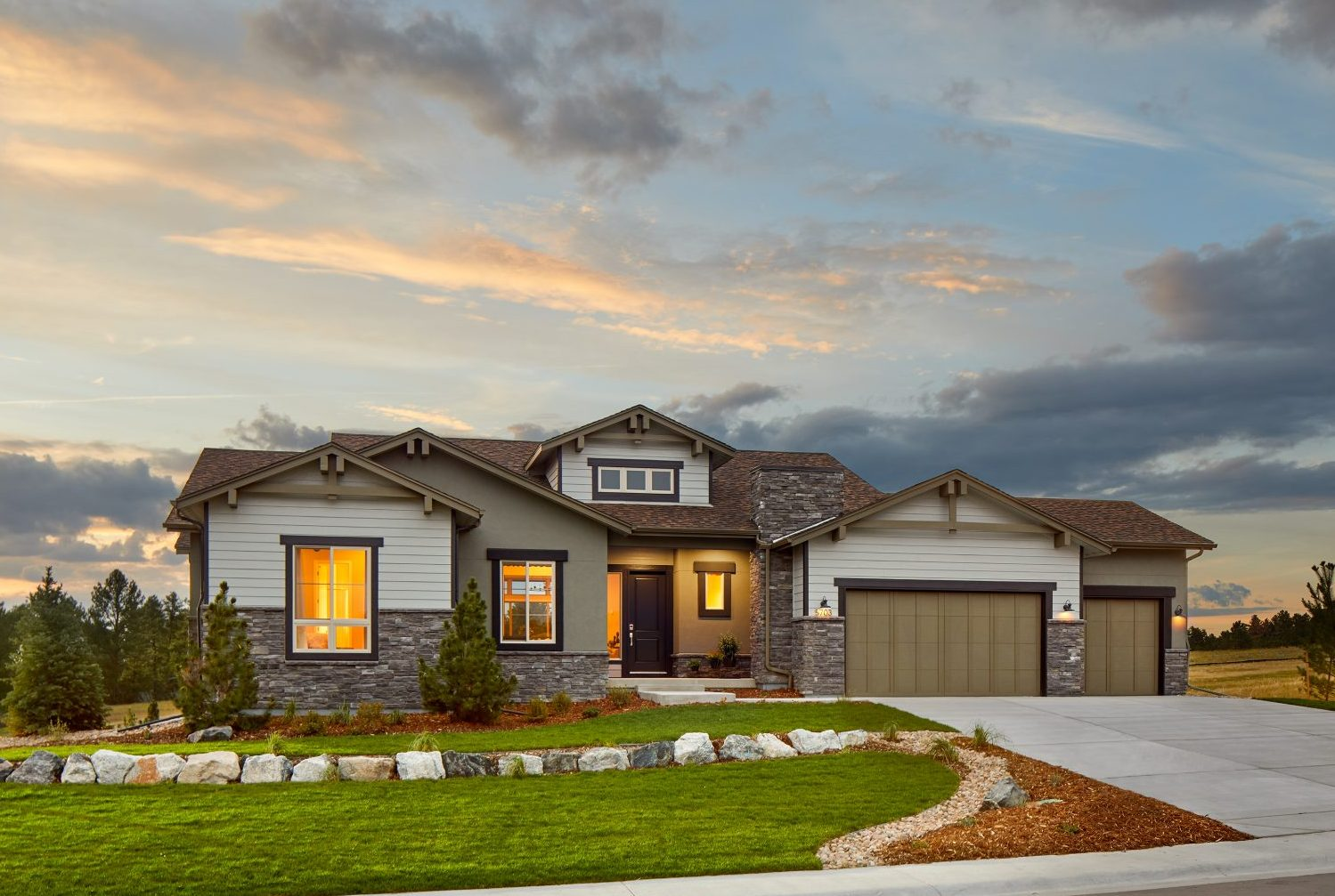 Gorgeous single-family ranch home with craftsman style details designed by Godden Sudik Architects