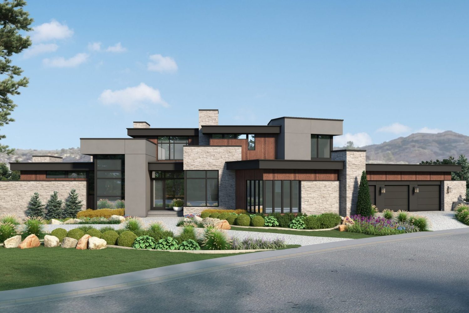 ultra modern custom home in Colorado with wood accent details and modern stone designed by award winning firm, Godden Sudik Architects