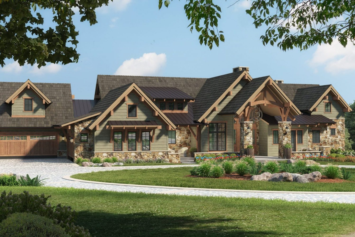Traditional Mountain Modern Craftsmans style custom home in Colorado designed by Godden Sudik Architects