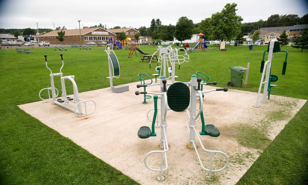 Shared outdoor exercise equipment