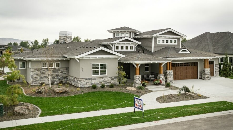 award winning residential architecture firm single family home two story grey and white