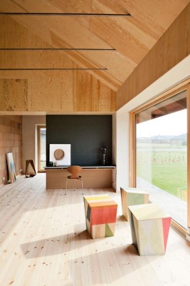 Scandinavian interior living room made of plywood