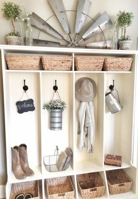 modern farmhouse cubbies with greenery and decor