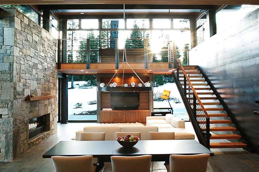 Mountain modern interior and fireplace
