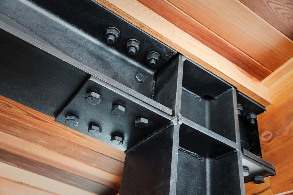 mountain modern steel and timber detail joint